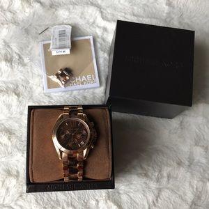 Michael Kors Rose Gold Tortoise Print Watch